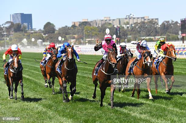 Hugh Bowman riding Flying Artie wins Race 5 the Coolmore Stud Stakes on Derby Day at Flemington Racecourse on October 29 2016 in Melbourne Australia