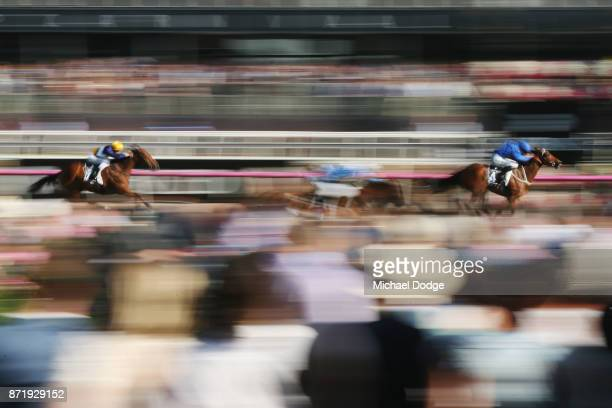 Hugh Bowman riding Jorda wins race 9 The Kennedy Plate on 2017 Oaks Day at Flemington Racecourse on November 9 2017 in Melbourne Australia