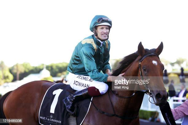 Hugh Bowman riding King's Legacy celebrates winning Race 5Moet & Chandon Champagne Stakes during Sydney Racing at Royal Randwick Racecourse on April...