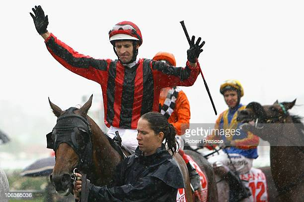 Hugh Bowman riding Lion Tamer returns to scales after winning race Six AAMI Victoria Derby during Victoria Derby Day at Flemington Racecourse on...
