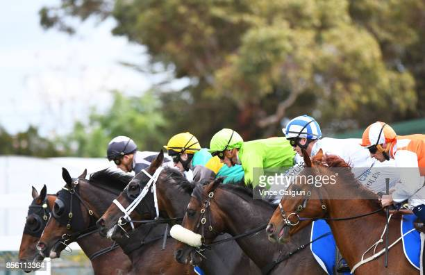 Hugh Bowman riding Lycurgus Luke Nolen riding Hardham and Regan Bayliss riding So Belafonte and Craig Newitt riding Pablo's Express at barrier start...