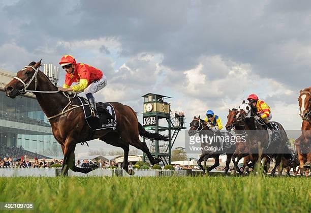 Hugh Bowman riding Press Statement winning Race 9 Beck Caulfield Guineas during Caulfield Guineas Day at Caulfield Racecourse on October 10 2015 in...