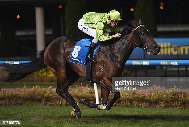 Hugh Bowman riding Thames Court wins Race 4 during Melbourne Racing at Moonee Valley Racecourse on March 24 2016 in Melbourne Australia