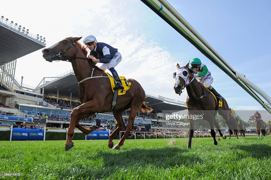 Hugh Bowman riding The United States wins Race 6, the Moonee Valley Gold Cup during Cox Plate Day at Moonee Valley Racecourse on October 24, 2015 in Melbourne, Australia.