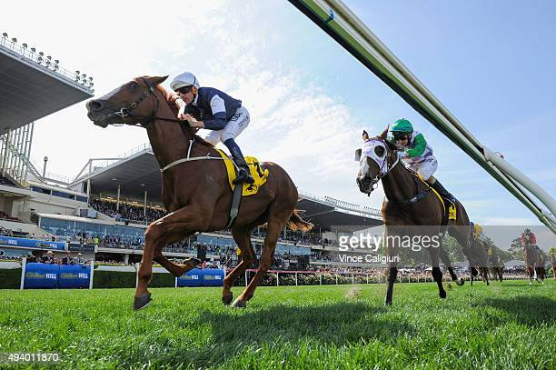 Hugh Bowman riding The United States wins Race 6 the Moonee Valley Gold Cup during Cox Plate Day at Moonee Valley Racecourse on October 24 2015 in...