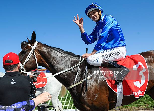 Hugh Bowman riding Winx after winning Race 6 Ladbrokes Caulfield Stakes during Caulfield Guineas Day at Caulfield Racecourse on October 8 2016 in...