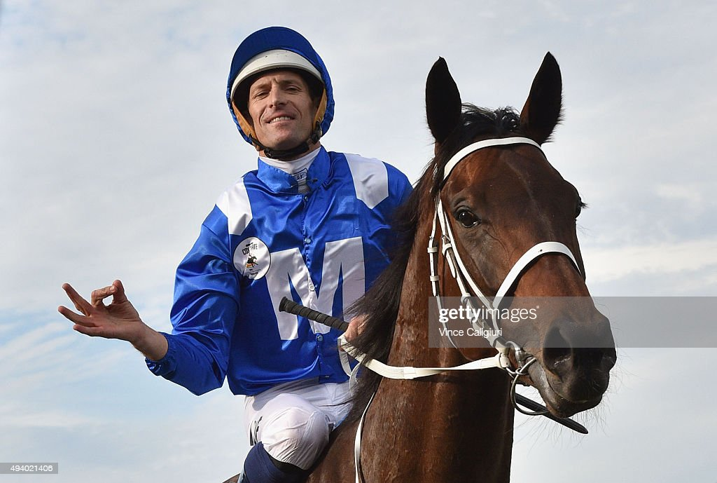 Hugh Bowman riding Winx after winning Race 9, the William Hill Cox Plate during Cox Plate Day at Moonee Valley Racecourse on October 24, 2015 in Melbourne, Australia.