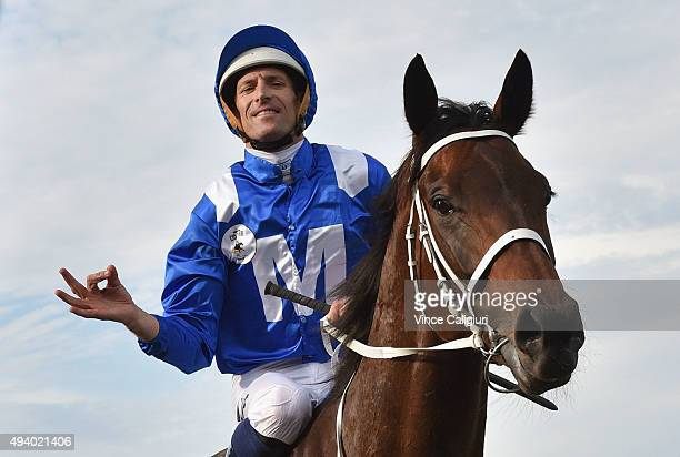Hugh Bowman riding Winx after winning Race 9 the William Hill Cox Plate during Cox Plate Day at Moonee Valley Racecourse on October 24 2015 in...