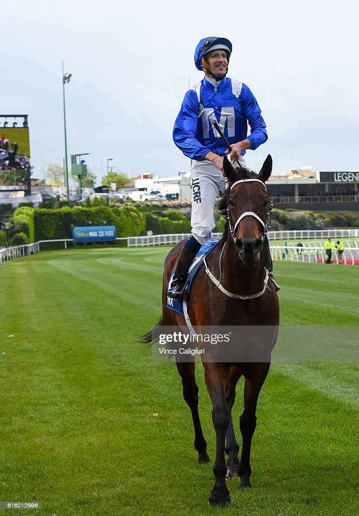 Hugh Bowman riding Winx after winning Race 9, William Hill Cox Plate during Cox Plate Day at Moonee Valley Racecourse on October 22, 2016 in Melbourne, Australia.