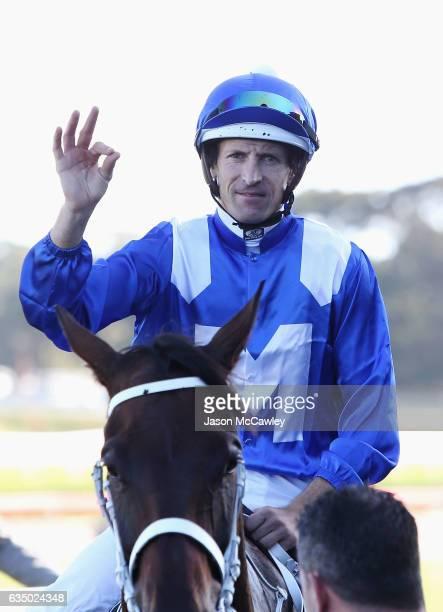 Hugh Bowman riding Winx celebrates winning Race 8 in the Apollo Stakes at Royal Randwick Racecourse on February 13 2017 in Sydney Australia