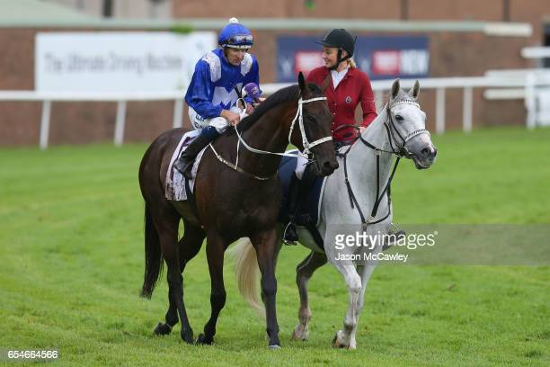 Hugh Bowman riding Winx is inteviewed on track after winning Race 5 in the China Horse Club George Ryder during 2017 Golden Slipper Day at Rosehill...