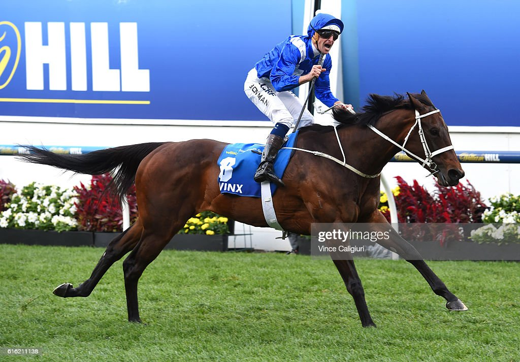 Hugh Bowman riding Winx reacts on the line to win Race 9, William Hill Cox Plate during Cox Plate Day at Moonee Valley Racecourse on October 22, 2016 in Melbourne, Australia.