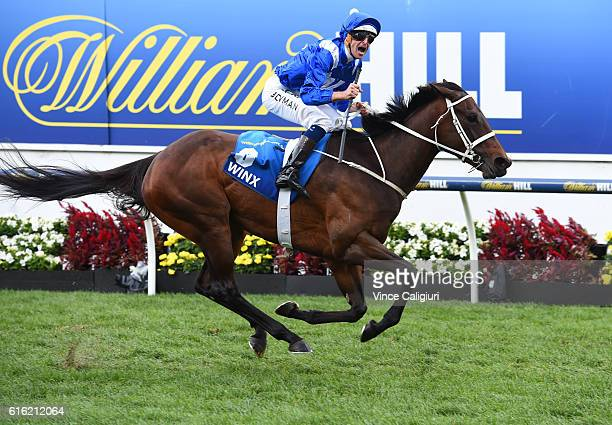 Hugh Bowman riding Winx reacts on the line to win Race 9 William Hill Cox Plate during Cox Plate Day at Moonee Valley Racecourse on October 22 2016...