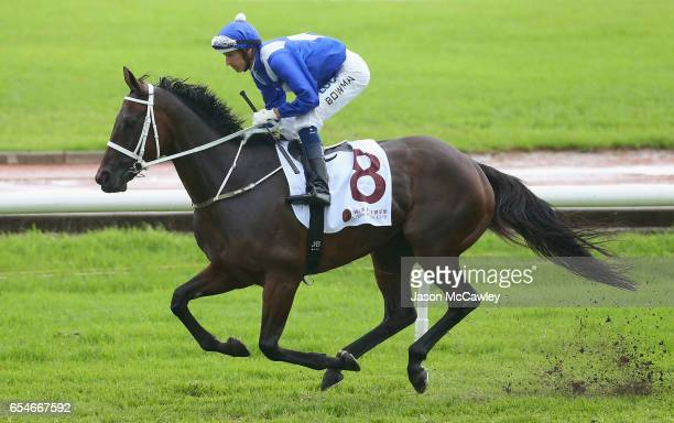 Hugh Bowman riding Winx take to the track ahead of Race 5 in the China Horse Club George Ryder during 2017 Golden Slipper Day at Rosehill Gardens on...