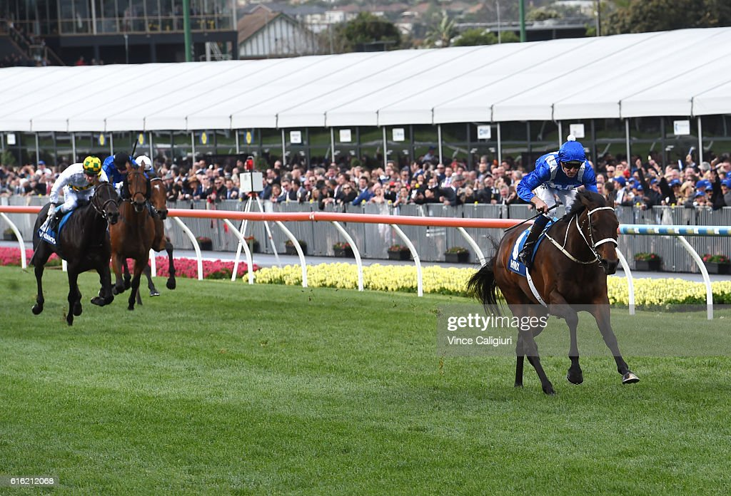Hugh Bowman riding Winx winning Race 9, William Hill Cox Plate during Cox Plate Day at Moonee Valley Racecourse on October 22, 2016 in Melbourne, Australia.