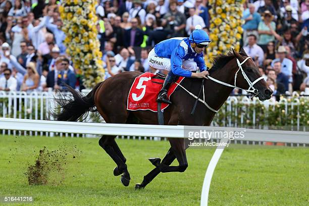 Hugh Bowman riding Winx wins Race 5 in The China Horse Club George Ryder Stakes during Golden Slipper Day at Rosehill Gardens on March 19 2016 in...