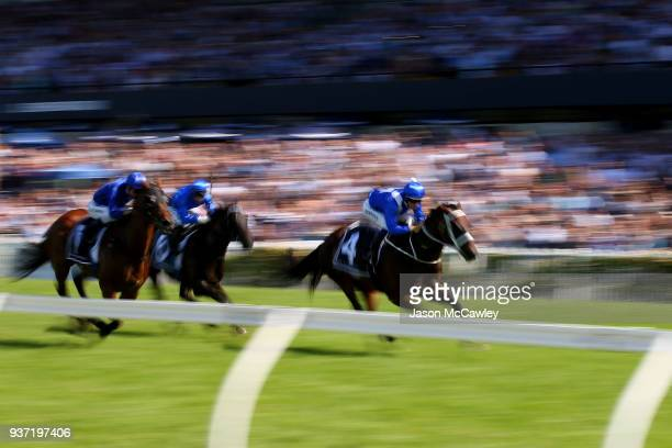 Hugh Bowman riding Winx wins race 5 The Agency George Ryder Stakes during Golden Slipper Day at Rosehill Gardens on March 24 2018 in Sydney Australia