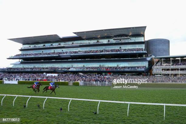Hugh Bowman riding Winx wins Race 6 in the Colgate Optic White Stakes during Sydney Racing at Royal Randwick Racecourse on September 16 2017 in...