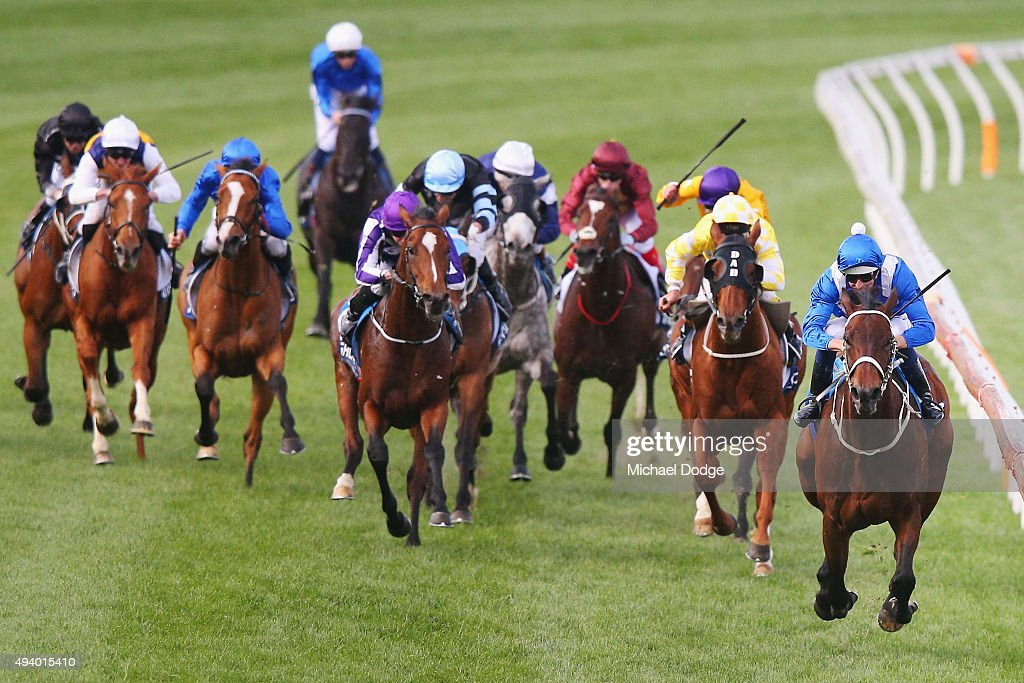 Hugh Bowman (R) riding Winx wins race 9 The William Hill Cox plate during Cox Plate Day at Moonee Valley Racecourse on October 24, 2015 in Melbourne, Australia.