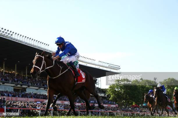 Hugh Bowman riding Winx wins race nine the Ladbrokes Cox Plate during Cox Plate Day at Moonee Valley Racecourse on October 28 2017 in Melbourne...