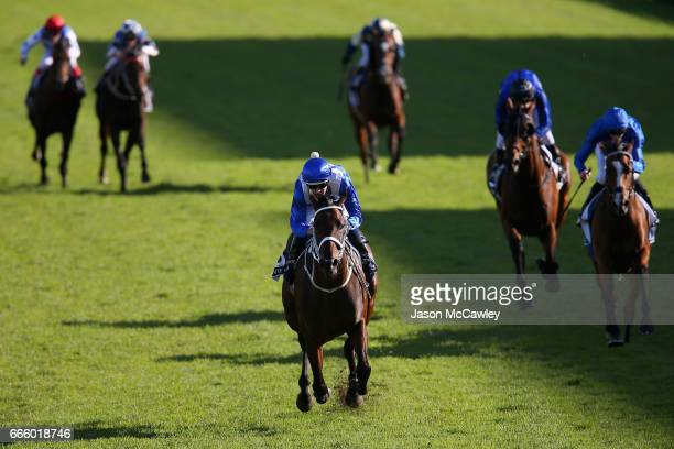 Hugh Bowman riding 'Winx' wins The Longines Queen Elizabeth Stakes during The Championships Day 2 at Royal Randwick Racecourse on April 8, 2017 in...