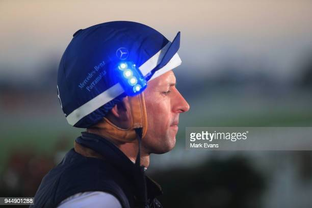 Hugh Bowman speaks to the media after riding Winx during a trackwork session at Rosehill Gardens on April 12 2018 in Sydney Australia