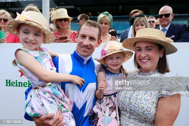 Hugh Bowman with daughters Bambi and Paige and wife Christine after winning the Chipping Norton Stakes on Winx during Sydney Racing at Royal Randwick...