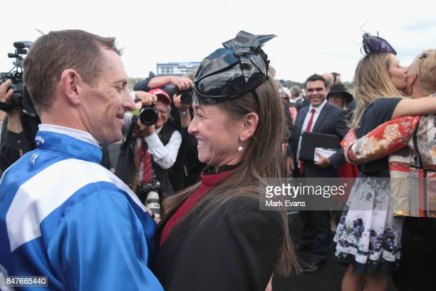 Hugh Bowman with wife Christine after winning race 6 on Winx during Sydney Racing at Royal Randwick Racecourse on September 16, 2017 in Sydney,...
