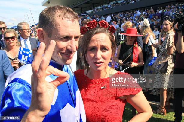 Hugh Bowman with wife Christine after winning race 6 The George Ryder Stakes on Winx during Golden Slipper Day at Rosehill Gardens on March 24, 2018...