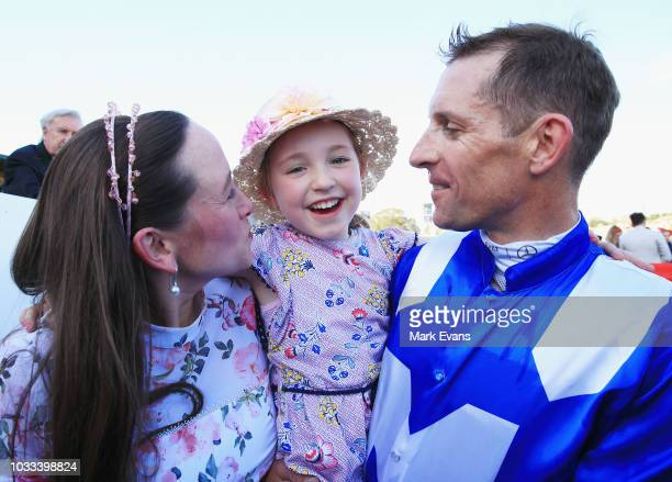Hugh Bowman with wife Christine and daughter Bambi, after winning race 6 on Winx during Sydney racing at Royal Randwick Racecourse on September 15,...