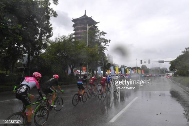 Hugh Carthy of Great Britain and Team Education First-Drapac P/B Cannondale / Peloton / Temple / Rain / Landscape / during the 2nd Tour of Guangxi...