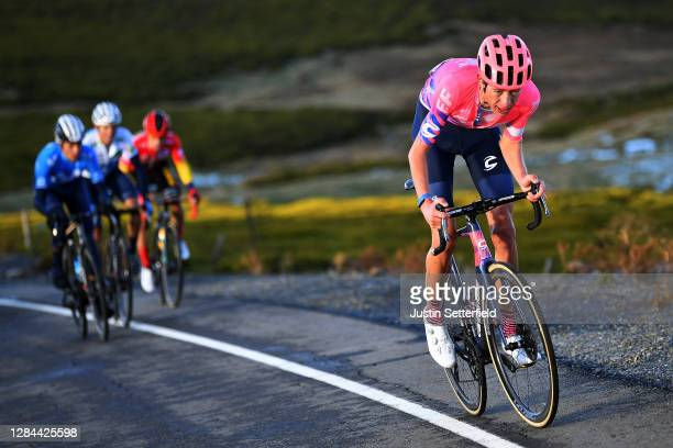 Hugh Carthy of The United Kingdom and Team EF Pro Cycling / Marc Soler Gimenez of Spain and Movistar Team / Enric Mas Nicolau of Spain and Movistar...