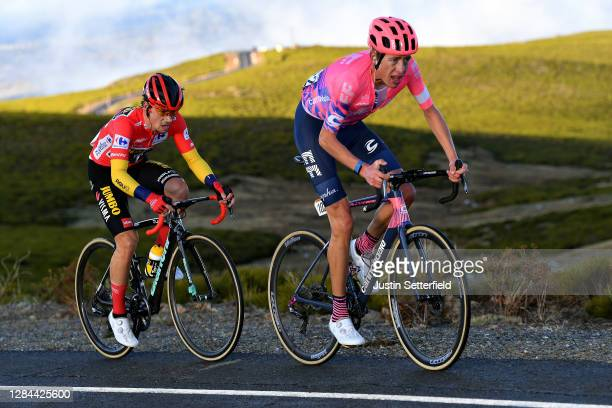 Hugh Carthy of The United Kingdom and Team EF Pro Cycling / Primoz Roglic of Slovenia and Team Jumbo - Visma Red Leader Jersey / during the 75th Tour...