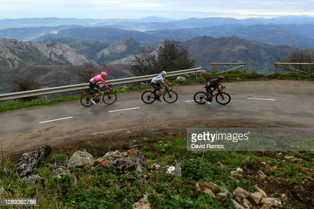 Hugh Carthy of The United Kingdom and Team EF Pro Cycling / Richard Carapaz of Ecuador and Team INEOS - Grenadiers / Enric Mas Nicolau of Spain and...