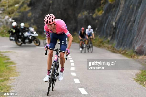 Hugh Carthy of The United Kingdom and Team EF Pro Cycling / Richard Carapaz of Ecuador and Team INEOS - Grenadiers / Enric Mas Nicolau of Spain and...