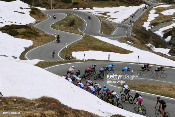 Hugh Carthy of United Kingdom, Alberto Bettiol of Italy and Team EF Education - Nippo & The peloton passing through Passo San Bernardino mountains...