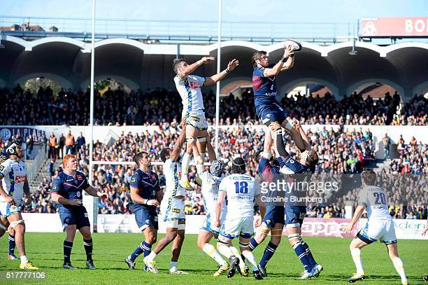 Hugh Chalmers of Bordeaux during the French Top 14 rugby union match between BordeauxBegles v Clermont at Stade ChabanDelmas on March 27 2016 in...