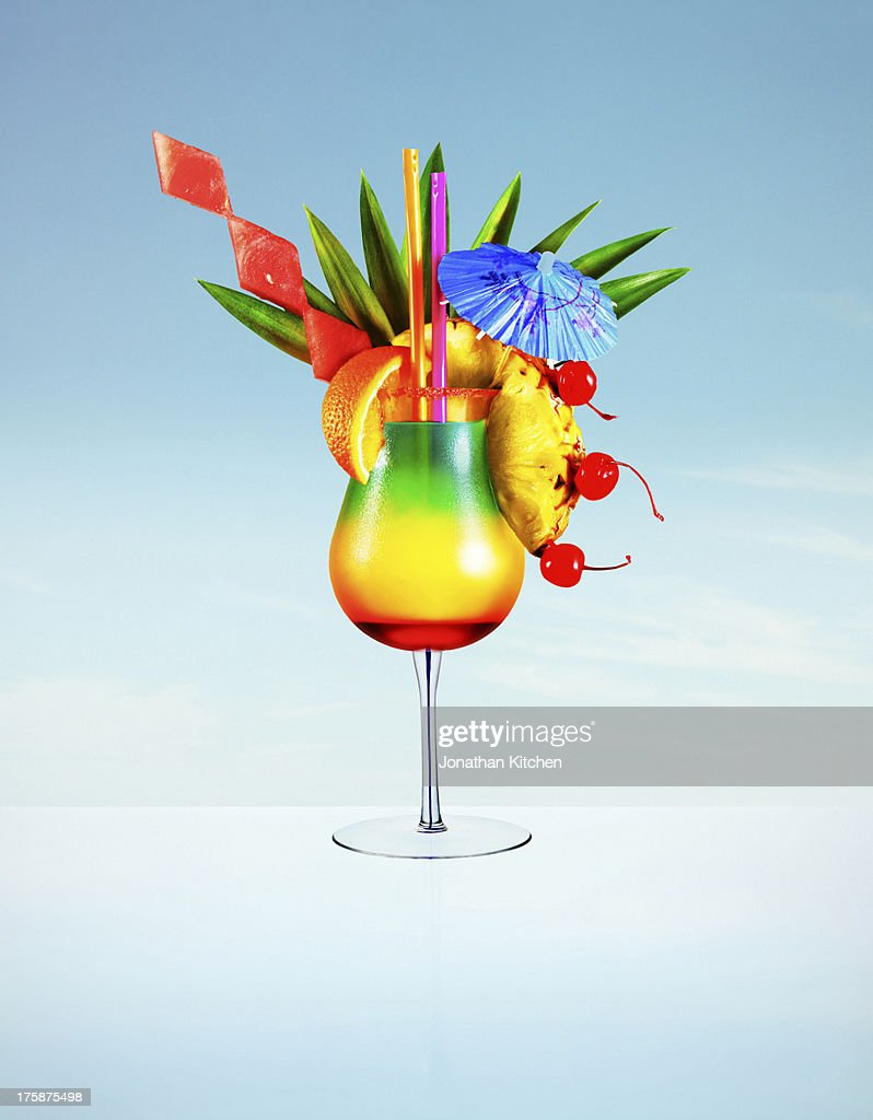 Hugh colourful cocktail : Stock Photo