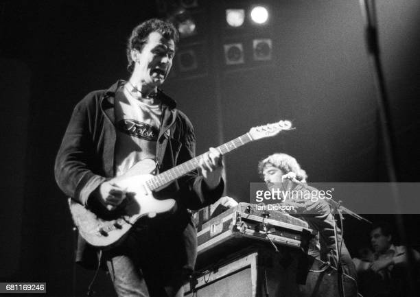 Hugh Cornwell and Dave Greenfield of The Stranglers performing on stage at The Roundhouse Chalk Farm London 04 July 1976
