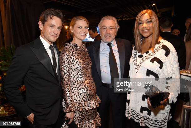 Hugh Dancy Claire Danes Robert De Niro and Grace Hightower and pose backstage during the 72nd Annual Tony Awards at Radio City Music Hall on June 10...