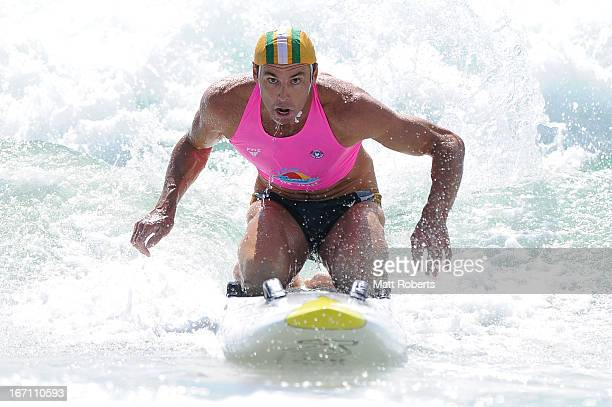 Hugh Dougherty of Tugun SLSC competes in the Open Men's Board Race final during the 2013 Australian National Surf Lifesaving Titles on April 21 2013...