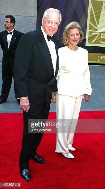 Hugh Downs wife during NBC 75th Anniversary Celebration at Rockefeller Plaza in New York New York United States