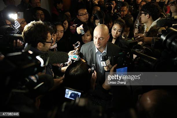 Hugh Dunleavy Head of commercial Malaysia Airlines speaks to media at Lido Hotel on March 9 2014 in Beijing China Malaysia Airline Flight MH370 from...