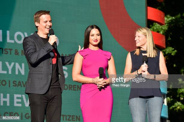 Hugh Evans Demi Lovato and Carolyn Miles speak onstage during the 2017 Global Citizen Festival For Freedom For Justice For All in Central Park on...