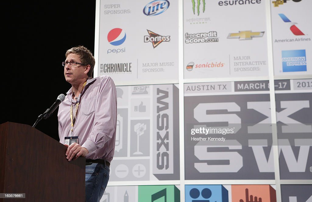Hugh Forrest speaks onstage at Bruce Sterling Closing Remarks during the 2013 SXSW Music, Film + Interactive Festival at Austin Convention Center on March 12, 2013 in Austin, Texas.