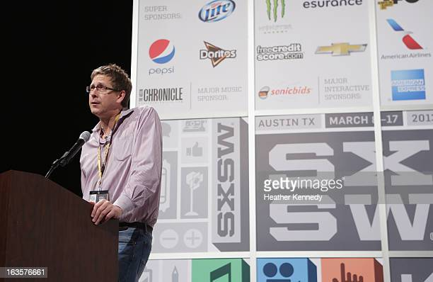 Hugh Forrest speaks onstage at Bruce Sterling Closing Remarks during the 2013 SXSW Music Film Interactive Festival at Austin Convention Center on...