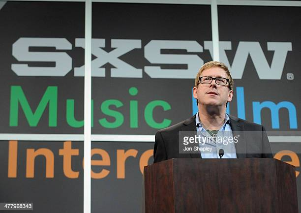 Hugh Forrest SXSW Interactive's Director speaks onstage at Bruce Sterling Closing Remarks during the 2014 SXSW Music Film Interactive Festival at...