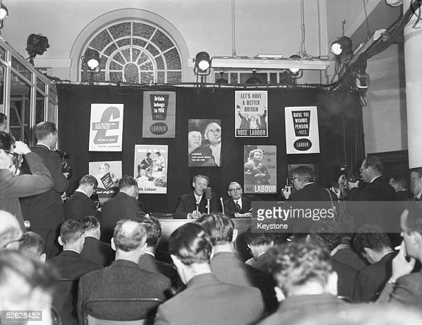 Hugh Gaitskell leader of the Labour Party holds a press conference at Transport House following his party's defeat in the election 9th October 1959