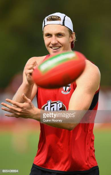 Hugh Goddard of the Saints handballs during a St Kilda Saints AFL training session at Linen House Oval on March 20 2017 in Melbourne Australia
