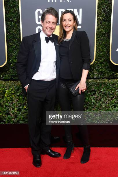Hugh Grant and Anna Eberstein attend The 75th Annual Golden Globe Awards at The Beverly Hilton Hotel on January 7 2018 in Beverly Hills California
